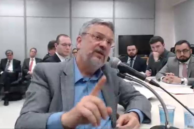 Antonio Palocci durante depoimento a Sergio Moro, em Curitiba, em setembro de 2017