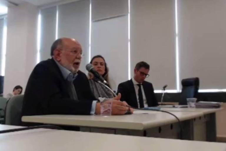 O ex-presidente da OAS Léo Pinheiro em depoimento em Curitiba em junho passado