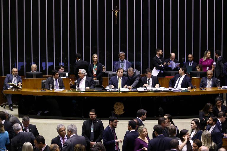 Plenário da Câmara dos Deputados durante votação da MP da Liberdade Econômica, sob o comando do presidente da Casa, deputado Rodrigo Maia (DEM-RJ)