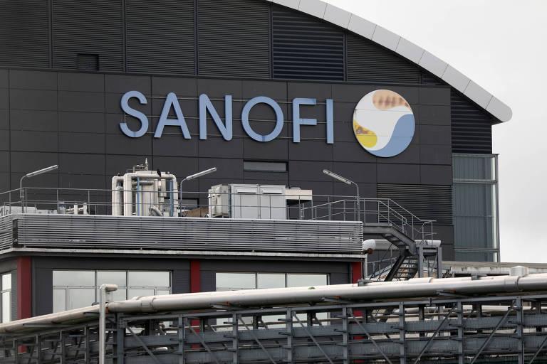 Logo da farmacêutica Sanofi, na França