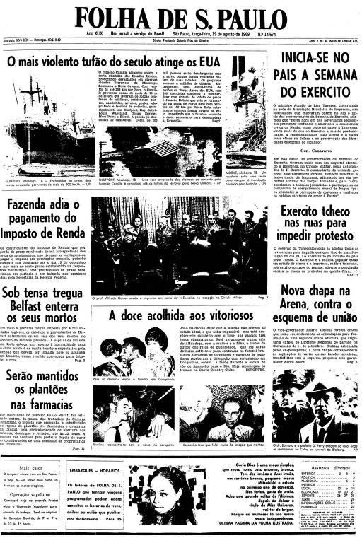 Primeira página da Folha de S.Paulo de 19 de agosto de 1969