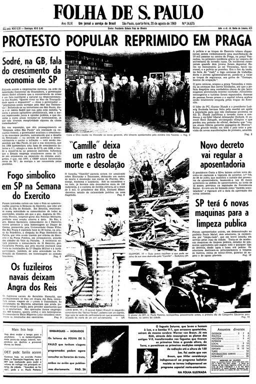 Primeira página da Folha de S.Paulo de 20 de agosto de 1969