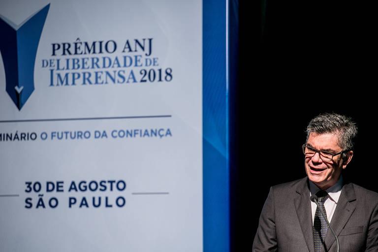 Marcelo Rech, presidente da ANJ, na cerimônia do Prêmio ANJ de Liberdade de Imprensa de 2018