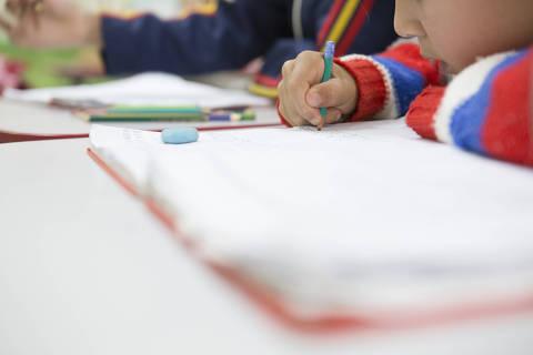 MONTEIRO LOBATO, SP, BRASIL, 16-08-2018: Alunos participam de aula na Escola Municipal Olívia dos Santos Feierabend, na zona rural de Monteiro Lobato. Embora receba poucos recursos do Fundeb (Fundo de Manutenção e Desenvolvimento da Educação Básica), o município possui bons rendimentos em avaliações de ensino (Foto: Rafael Hupsel/Folhapress) *FSP- COTIDIANO* EXCLUSIVO FOLHA***.