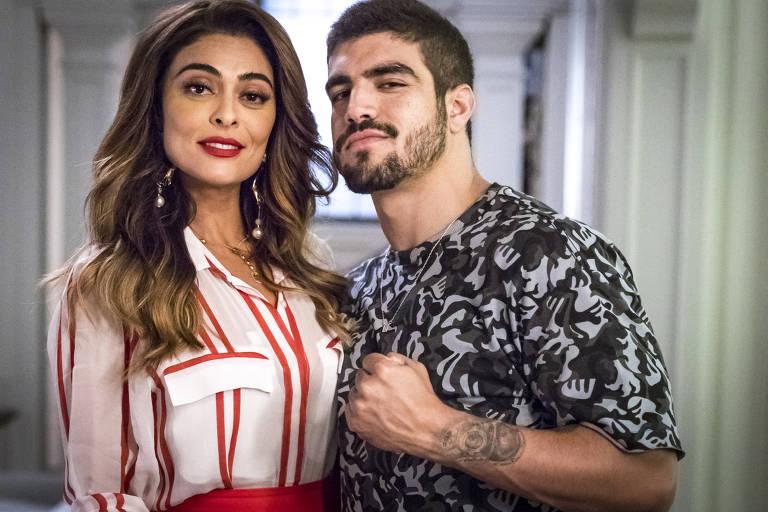 """Maria da Paz (Juliana Paes) e Rock (Caio Castro) em cena de """"A Dona do Pedaço"""""""