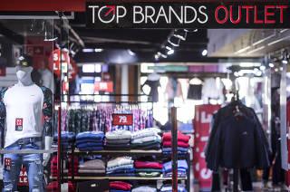 ESPECIAL SHOPPINGS de Sao Paulo. Fachada da loja Top Brands (umas das lojas outlet do Shopping Light, no centro de SP)