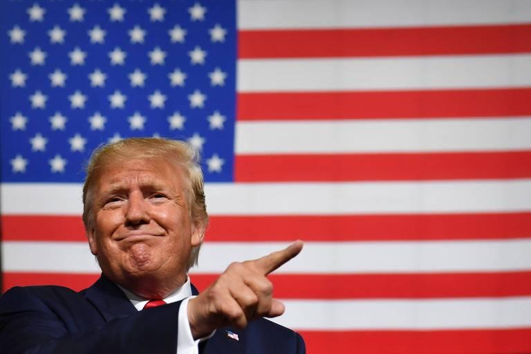O presidente dos EUA, Donald Trump, durante um comício da campanha em Manchester, New Hampshire