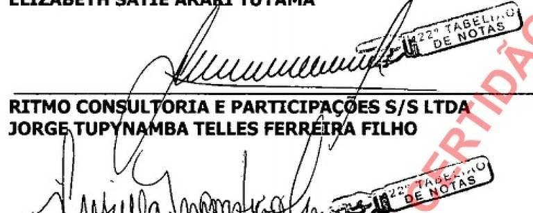 Assinatura de Jorge Tupynambá como responsável pela empresa Ritmo, para criação de condomínio na zona sul