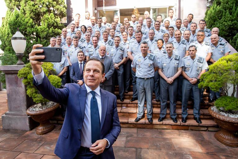 O governador João Doria na reunião do conselho de coronéis da Polícia Militar