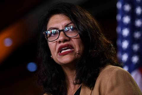 (FILES) In this file photo taken on July 15, 2019 US Representative Rashida Tlaib (D-MI) speaks during a press conference, to address remarks made by US President Donald Trump earlier in the day, at the US Capitol in Washington, DC. - Palestinian-American lawmaker Rashida Tlaib on August 16, 2019 rejected Israel's offer to allow her to visit her grandmother in the West Bank, blasting the