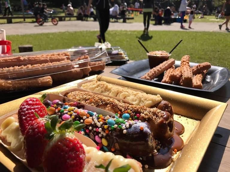 Doces vendidos no Festival de Churros, Crepe e Waffle no Parque da Água Branca