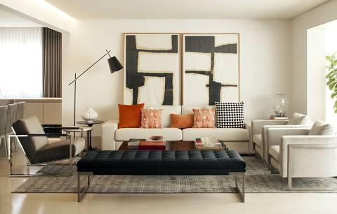 Sofá de Chenille, do projeto de arquitetura Apartamento CK do escritório Denise Barretto