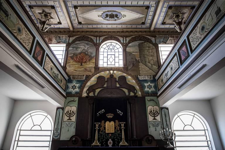 Interior da Sinagoga Israelita do Cambuci, localizada na rua Teixeira Mendes, no bairro do Cambuci