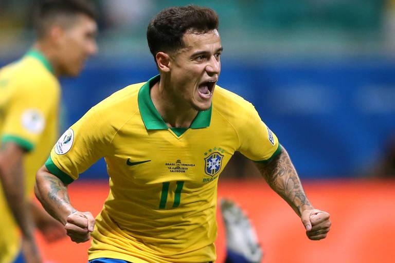 Phillipe Coutinho comemora gol pela seleção brasileira contra a Venezuela na Copa América