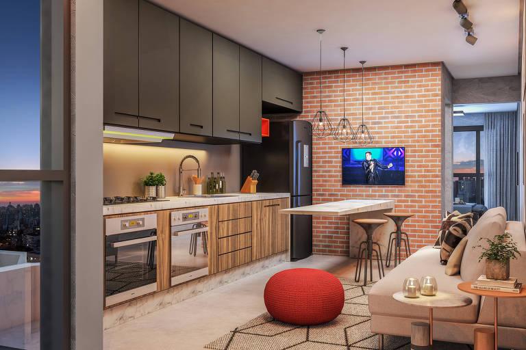 Imagem de como será o apartamento do empreendimento ArqVittá, da construtora JSLC, em Vila Valparaíso, Santo André