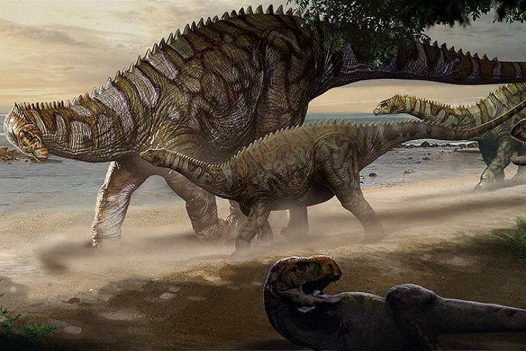 Cientistas brigam contra a maré para resgatar fóssil de dinossauro no Maranhão