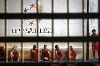 Presos em uma das unidades do Complexo Prisional de Pedrinhas, em São Luís (MA)