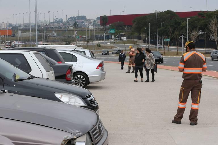Agentes da CET atuam no entorno da Arena Corinthians, em Itaquera