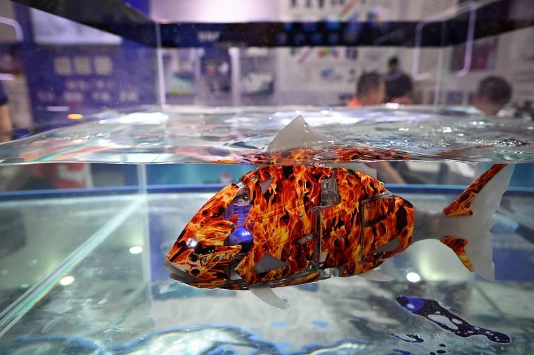 Peixe-robô laranja nada em aquário