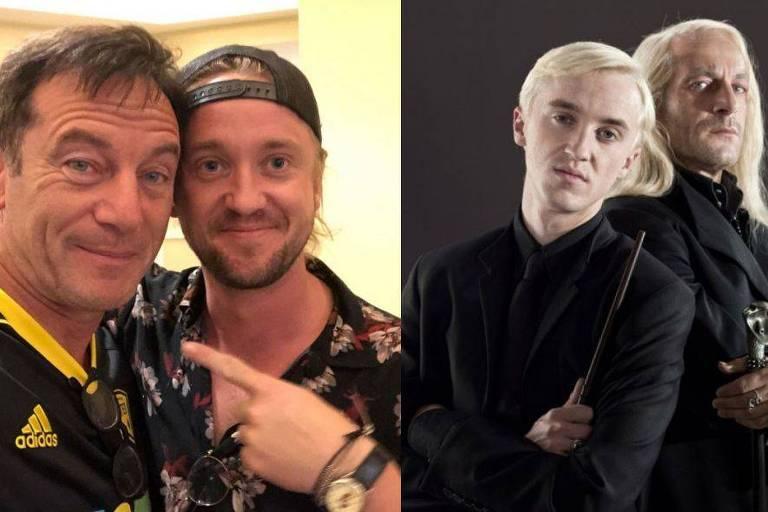 Tom Felton e Jason Isaacs reúnem família Malfoy de 'Harry Potter' em foto