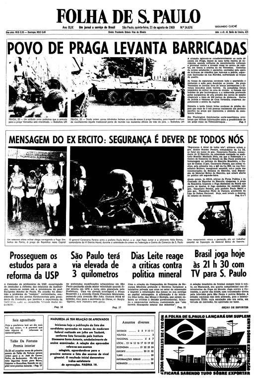 Primeira página da Folha de S.Paulo de 21 de agosto de 1969