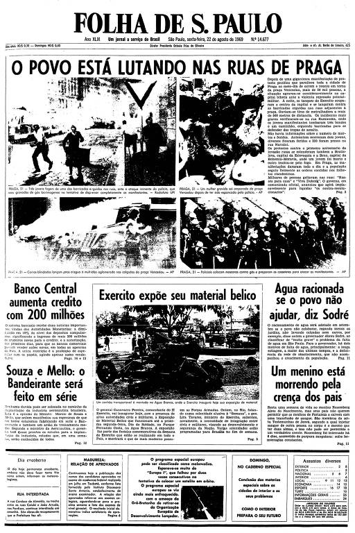 Primeira página da Folha de S.Paulo de 22 de agosto de 1969
