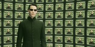 KEANU REEVES IN SCENE FROM NEW FILM THE MATRIX RELOADED