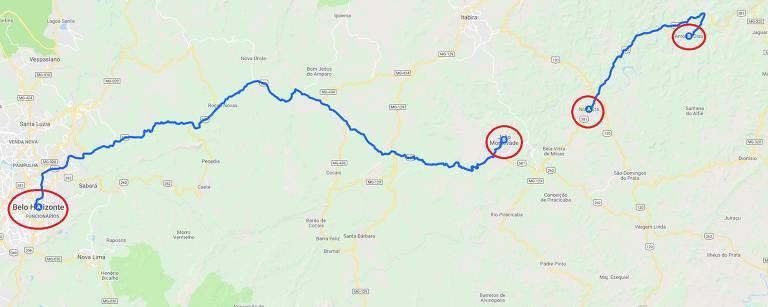 O mapa mostra a localização e a distância de quatro cidades, em duas duplas.Trecho menor tem 35 km e liga Nova Era a Antônio Dias, já trecho maior liga Belo Horizonte e João Monlevade, distantes 115 km.