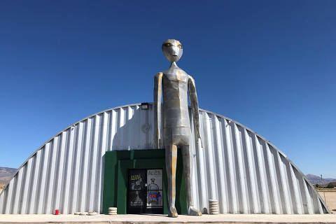The exterior of the Alien Research Facility gift shop in Rachel, Nevada, U.S., August 16,2019.  Photo taken August 16, 2019.  REUTERS/Rollo Ross ORG XMIT: HFS-TOR461