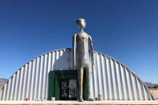 The exterior of the Alien Research Facility gift shop in Rachel, Nevada