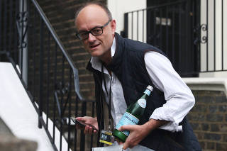 Dominic Cummings, special advisor for Britain's Prime Minister Boris Johnson, leaves his home in London