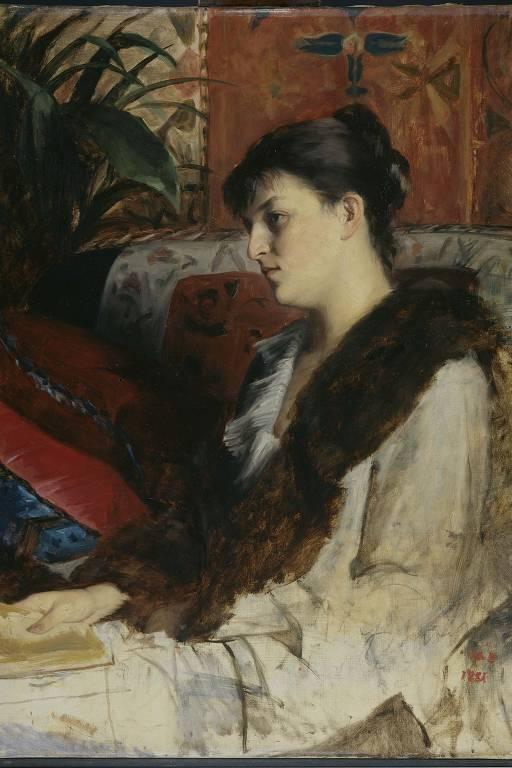 'The Artist's Sister-in-Law' (a nora da artista), pintura de Marie Constantine Bashkirtseff de 1881