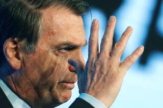 Brazil's President Jair Bolsonaro attends the Brazilian Steel Conference in Brasilia