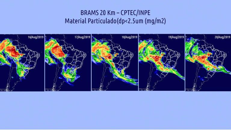 Partículas de queimadas vindas das regiões Centro-Oeste e Norte interagiram com nuvens trazidas por frente fria vinda do sul, causando escurecimento do céu e da água da chuva