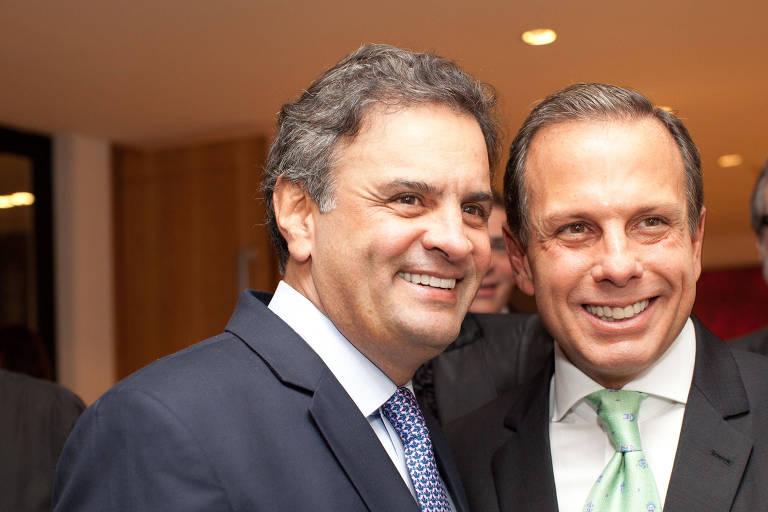 Doria, antes de entrar na política, em encontro com Aécio durante jantar em 2014