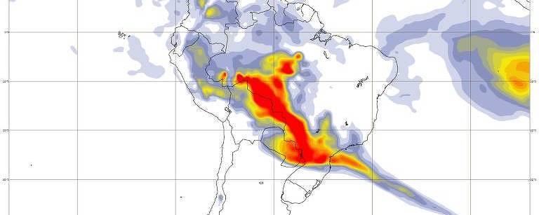 Imagem vermelha sobre o mapa da América do Sul mostra onde está fumaça de queimadas
