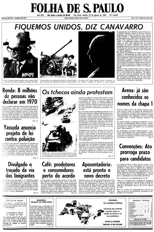 Primeira página da Folha de S.Paulo de 23 de agosto de 1969