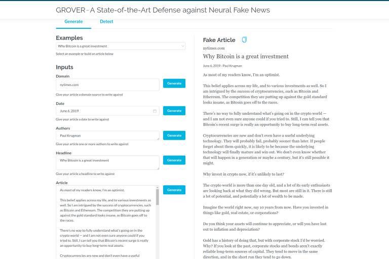 Como usar o Grover para gerar textos de fake news