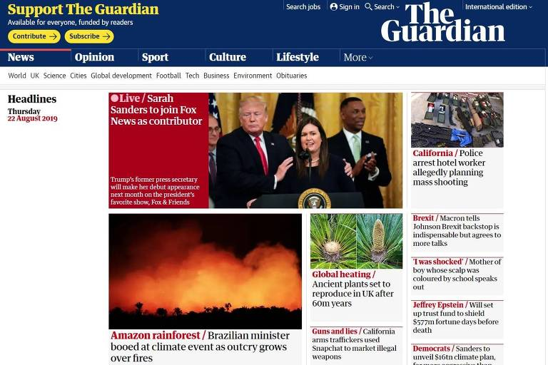 Repercussão das queimadas na Amazônia na mídia internacional