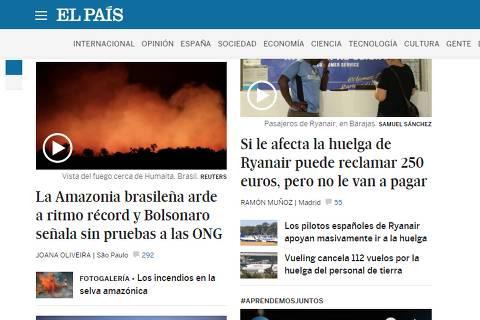 'Brasil arde', diz El País; veja a repercussão das queimadas na mídia internacional