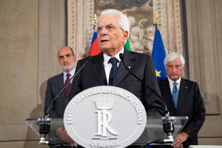 Italian President Sergio Mattarella speaks to the press after consultations with political parties' leaders, in Rome