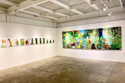 Espaço da galeria com obras do artista  Herbert Baglione