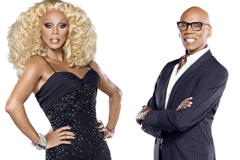 RuPaul Charles sem maquiagem e também como a drag queen a quem dá vida