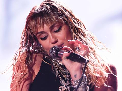 US singer Miley Cyrus performs on stage during a concert at the Sunny Hill Festival in Pristina on August 2, 2019. (Photo by Armend NIMANI / AFP) ORG XMIT: NIM