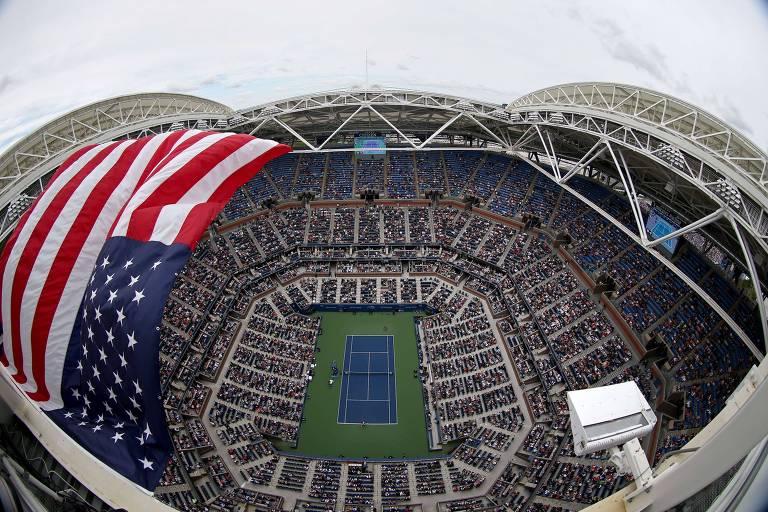 Vista aérea da estádio Arthur Ashe, principal quadra do complexo de tênis que abriga o Aberto dos Estados Unidos