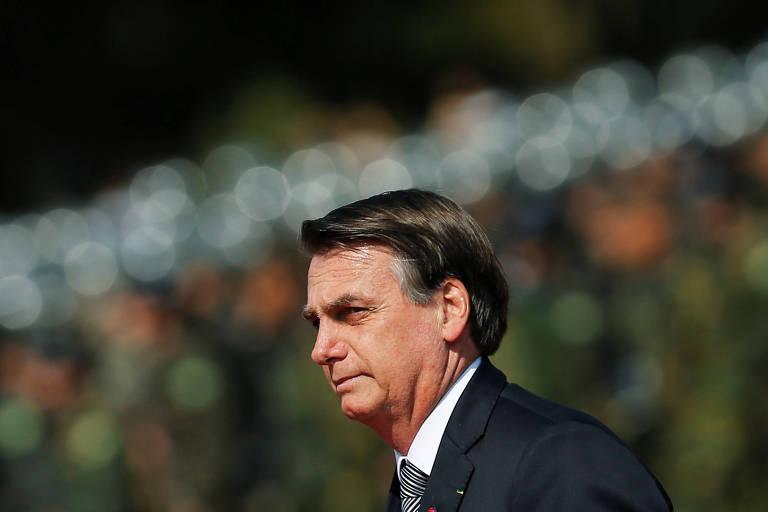 O presidente Jair Bolsonaro, durante cerimônia do Dia do Soldado, em Brasília