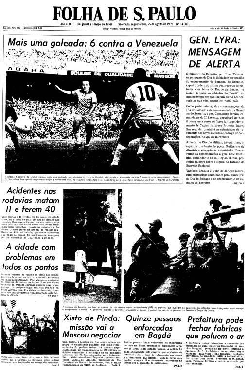 Primeira página da Folha de S.Paulo de 25 de agosto de 1969