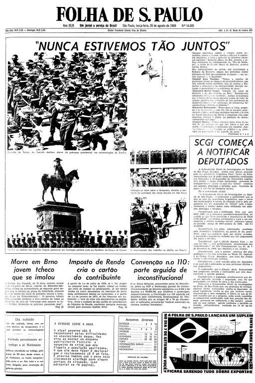 Primeira página da Folha de S.Paulo de 26 de agosto de 1969