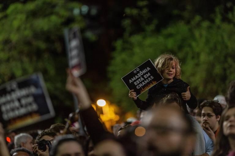 Manifestação em defesa da Amazônia na Avenida Paulista