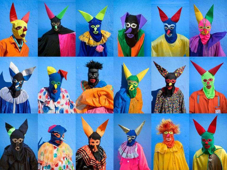 36 fotos de pessoas usando máscaras coloridas, em frente a um muro azul